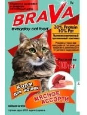 Brava сухой корм для кошек мясное ассорти, 10 кг.
