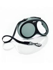 Flexi, Рулетка-ремень для собак до 60кг, 5м, серая, New Comfort L Tape 5 m, grey 10855.сер