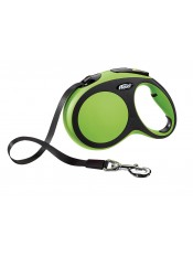 Flexi, Рулетка-ремень для собак до 60кг, 5м, зеленая, New Comfort L Tape 5 m, green арт. 10855.зел