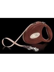 flexi Рулетка-ремень Lux с благородной кожаной отделкой для собак до 25 кг, 5 м, коричневая , Leather CC, артикул: 18186