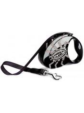 flexi Рулетка-ремень с кожаной отделкой и стразами Swarovski для собак до 12 кг, 3 м, рисунок паук, черная , Flexi Glam SPIDER, артикул: 10269