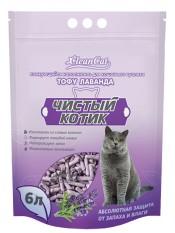 """Наполнитель """"Чистый Котик"""" Тофу, лаванда, 6 литр."""