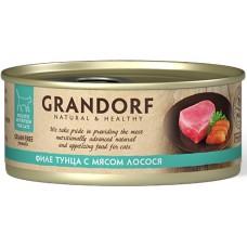 Grandorf для кошек, филе тунца с лососем, 70 гр.