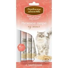 Деревенские лакомства для кошек Нежное пюре из лосося, 4 шт*10 гр.
