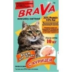 Brava сухой корм для кошек кура, 10 кг.