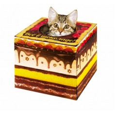 "Домик-коробка с матрасом ""Торт - все в шоколаде"", вход сверху, 28 х 28 х 25 см"
