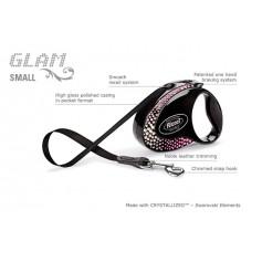 flexi Рулетка-ремень с кожаной отделкой и стразами Swarovski для собак до 12 кг, 3 м, черная, Glam Composition Small Onyx Black, артикул: 14991