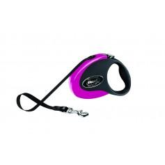 flexi Рулетка-ремень для собак до 12кг, 3м, черно-розовая, Collection S tape 3m black/pink, артикул: 19265