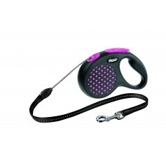 Flexi Рулетка-трос для собак до 12 кг, 5 м, розовая, Design S Cord 5 m, pinkарт. 10842.роз