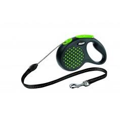 Flexi Рулетка-трос для собак до 12 кг, 5 м, зеленая, Design S Cord 5 m, greenарт. 10842.зел