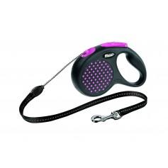 Flexi  Рулетка-трос для собак до 20 кг, 5 м, розовая, Design M Cord 5 m, pink арт. 10843.роз