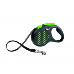 Flexi Рулетка-ремень для собак до 15 кг, 5 м, зеленая, Design S Tape 5 m, green, арт. 10844.зел.