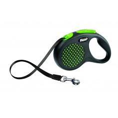 Flexi Рулетка-ремень для собак до 50 кг, 5 м, зеленая, Design M-L Tape 5 m, green, арт. 10845.зел