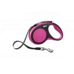 Flexi Рулетка-ремень для собак до 15кг, 5м, розовая, New Comfort S Tape 5 m, pink, арт. 10853.роз