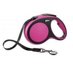 Flexi, Рулетка-ремень для собак до 60кг, 5м, розовая, New Comfort L Tape 5 m, pink арт. 10855.роз