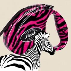 """flexi Рулетка-ремень Fashion """"Розовая зебра"""" с кожаной отделкой для собак до 12 кг, 3 м, Pink Zebra Small, артикул: 14114"""