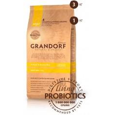 Grandorf четыре вида мяса с бурым рисом для взрослых собак мелких пород, 3 кг.