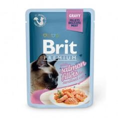 Brit Premium Кусочки из филе лосося в соусе для стерилизованных кошек, паучи, 85 гр.