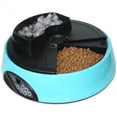 Feedex Автокормушка на 4 кормления для сухого корма и консерв, с емкостью для льда, голубая PF1B, артикул: 14045.гол