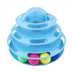 Игрушка для кошек Трек-башня с мячиками, цвет: голубой или розовый