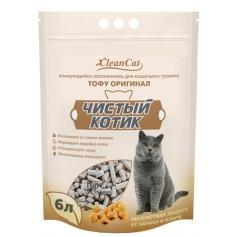 """Наполнитель """"Чистый Котик"""" Тофу, оригинал, 6 литр."""