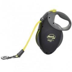 Рулетка-ремень Giant XL Black Neon tape, для особо крупных и сильных собак, 8м от 50 кг, черная+неон.
