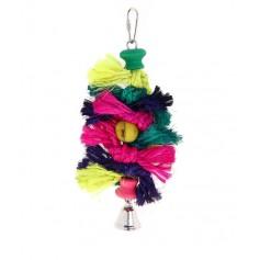 """Игрушка """"Цвет Вишни"""" для птиц с канатом, деревянными бусинами и колокольчиком"""